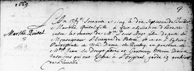 Abjuration record of Marthe Quitel