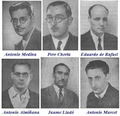 Los ajedrecistas Antonio Medina, Pere Cherta, Eduardo de Rafael, Antonio Almiñana, Jaume Lladó y Antonio Marcet