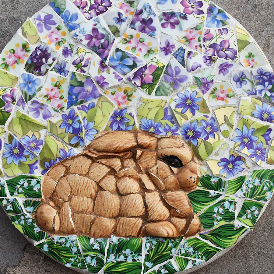 Mosaic bunny dreaming flowers stepping stone