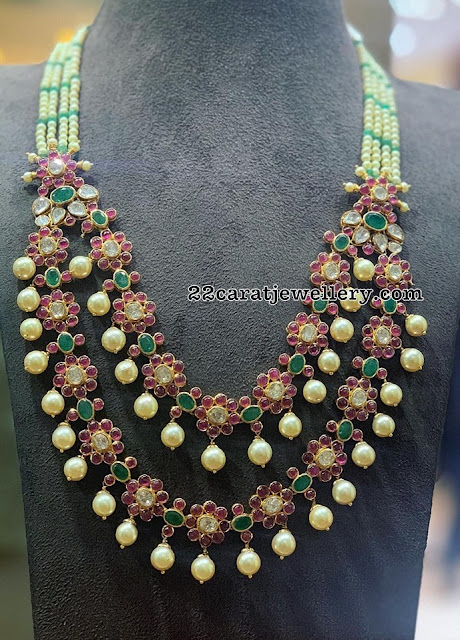 Two Layer Ruby Pearl Necklace