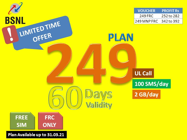 BSNL launches new prepaid mobile plan FRC ₹249 with Unlimited Voice Calls, 2GB Data/Day & 100 SMS/Day for 60 days