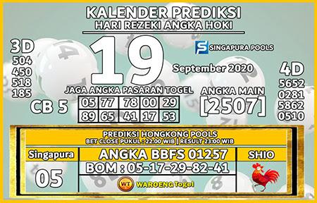 Kalender Prediksi SGP Minggu 19 September 2021