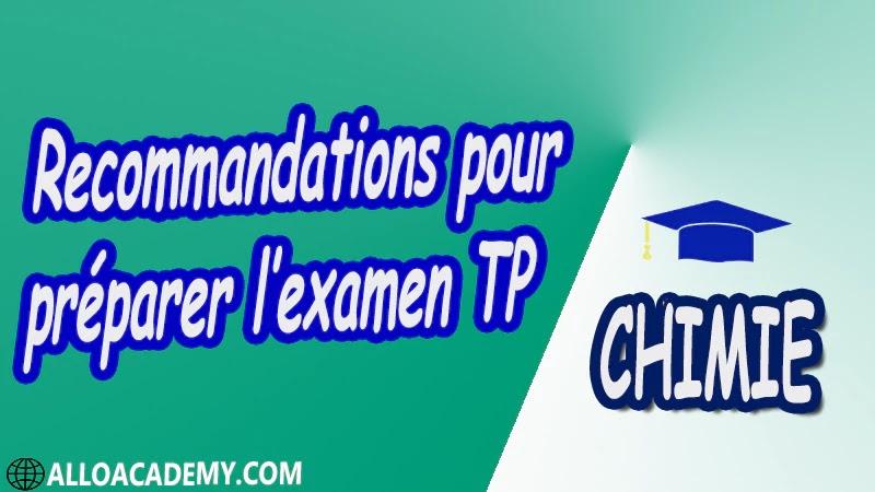Recommandations pour préparer l'examen TP pdf