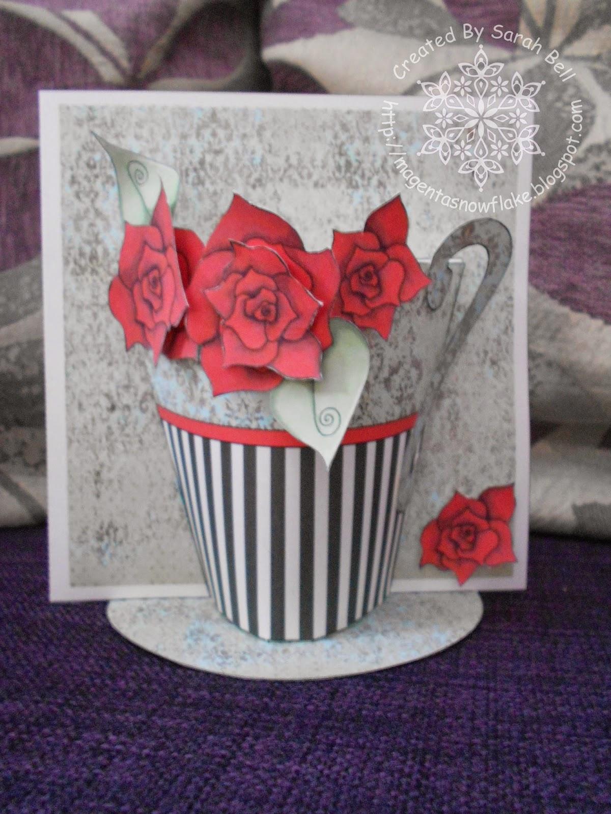 Magenta Snowflake Designs : Tea Cup 3D Card using Fabulous