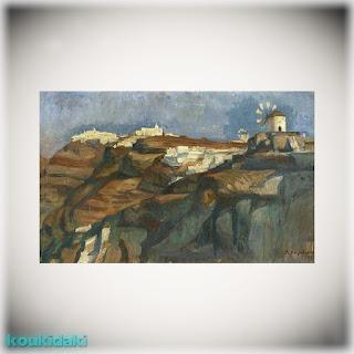 Πίνακας ζωγραφικής Lykourgos Kogevinas (Φυροστεφάνι, Ημεροβίγλι, λάδι σε χαρτόνι)