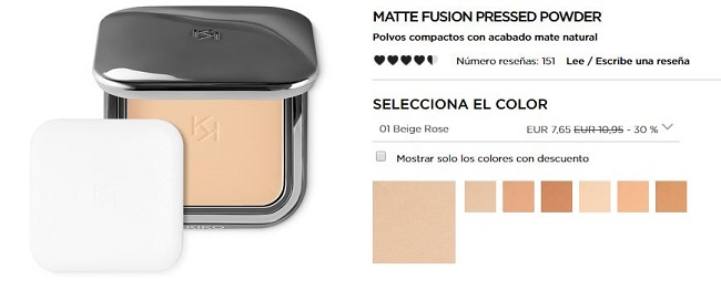 Matte Fushion Pressed Powder - productos más vendidos de Kiko