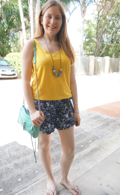 bright yellow tank, navy printed shorts, colourful summer outfit | away from blue