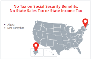 map showing Alaska and New Hampshire - No Tax on Social Security Benefits, State Sales Tax, or State Income Tax