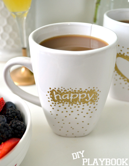 Gold dotted mug with happy written on it