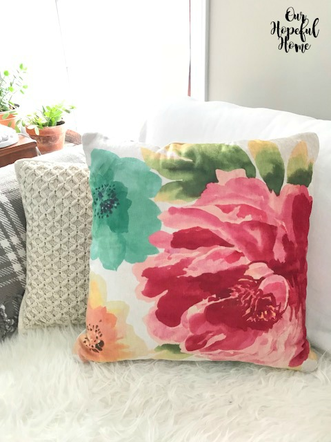 Wal-Mart Mainstays floral pillow cable knit pillow