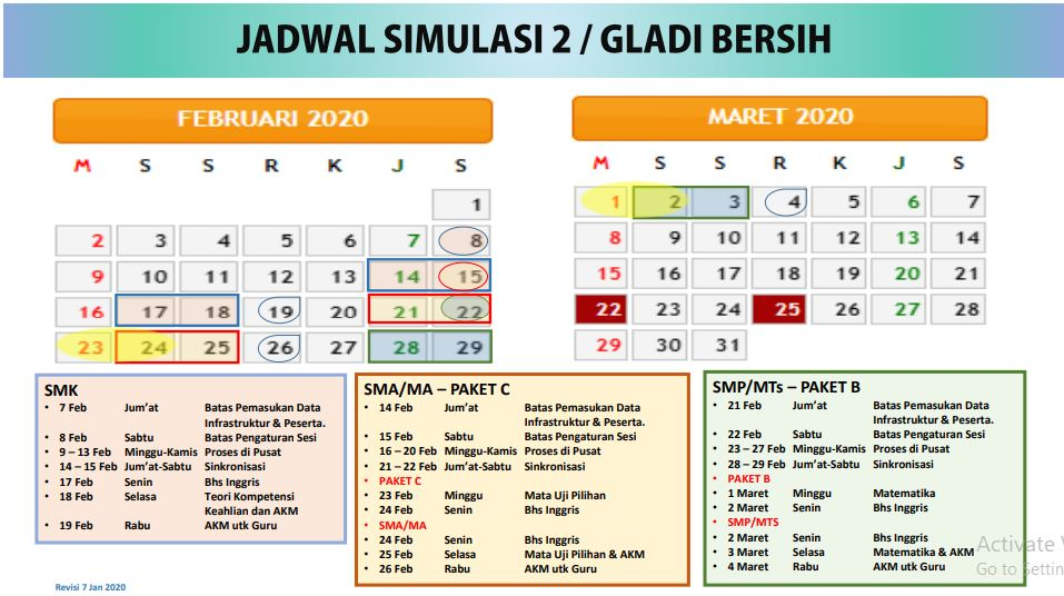 Jadwal Gladi Bersih UNBK Sekolah SMP/MTs Tahun Ajaran 2019/2020 Resmi