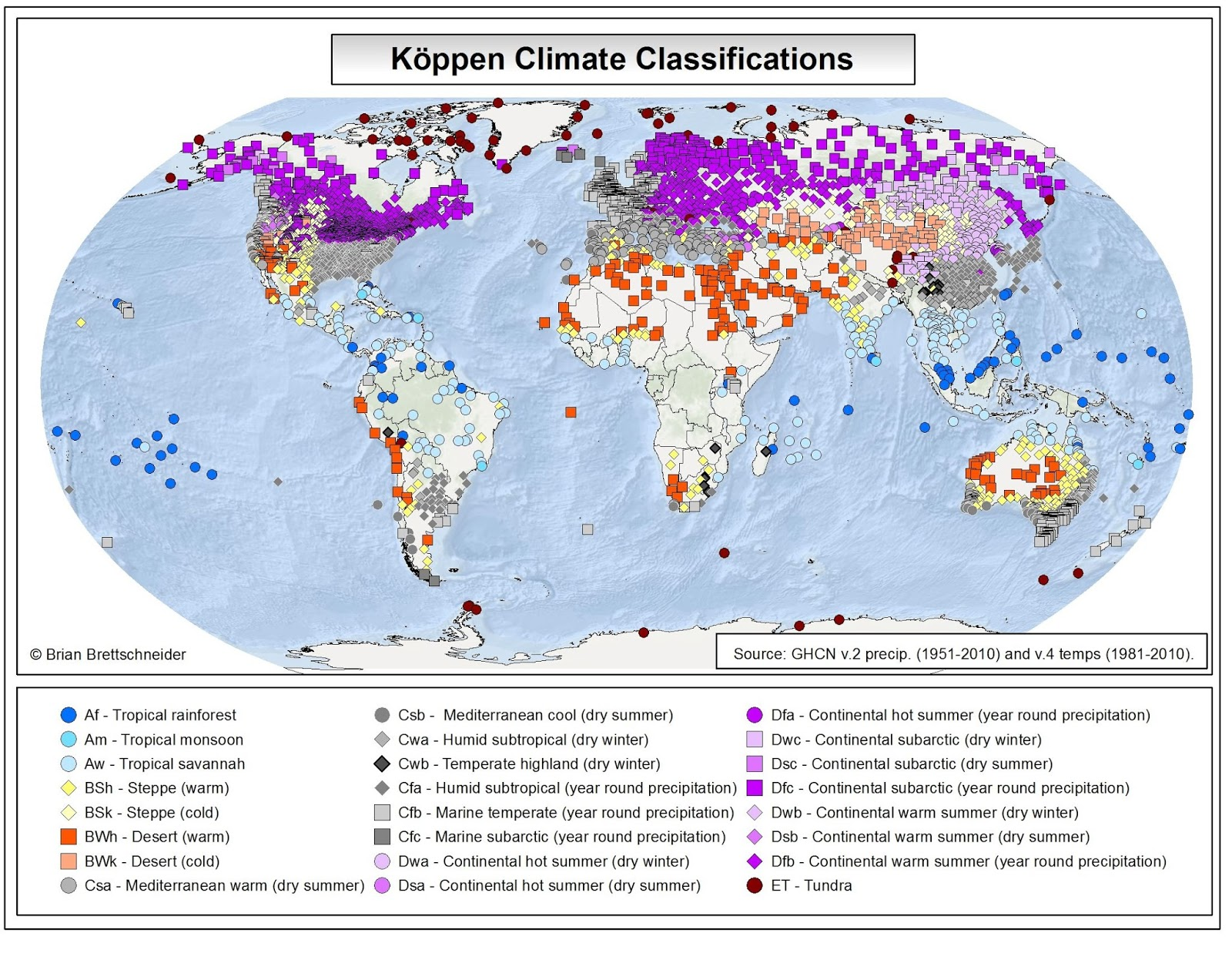 Brian B's Climate Blog: Global Köppen Climate Clifications on