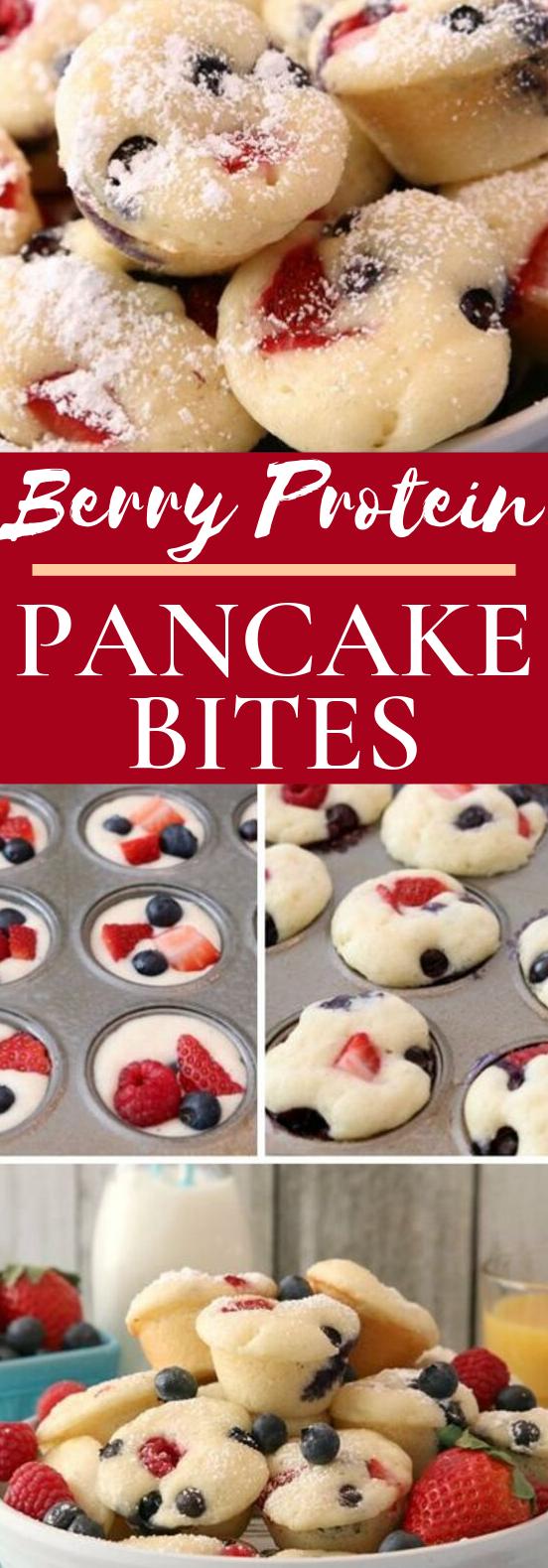 Berry Protein Pancake Bites #healthy #breakfast