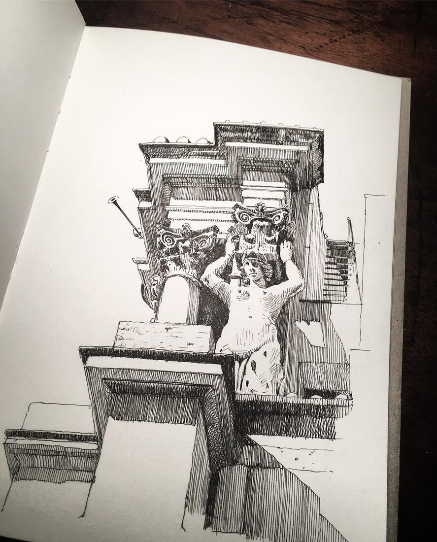 12-Santi-Vincenzo-e-Anastasio-a-Trevi-Mark-Poulier-Drawing-Urban-Architecture-on-a-Sketchbook-www-designstack-co