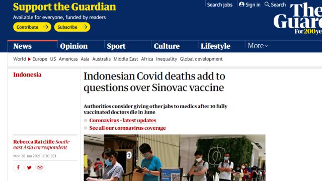 Media Asing Soroti Kematian Nakes Indonesia Meski Sudah Divaksin, Kemanjuran Sinovac Dipertanyakan