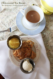 White Chocolate Apricot Scone with Devonshire Cream, Lemon Curd and Maple Blackberry Tea at Glenwood Tea Room in Shreveport, Louisiana