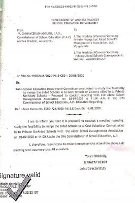 Aided Schools Merger Proposal-Committee Meeting at 02.07.20 11 am