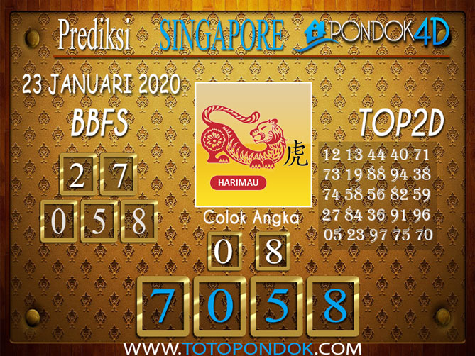 Prediksi Togel SINGAPORE PONDOK4D 23 JANUARI 2020