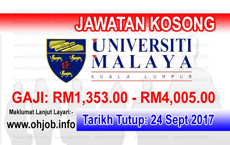 Jawatan Kerja Kosong Universiti Malaya - UM logo www.ohjob.info september 2017