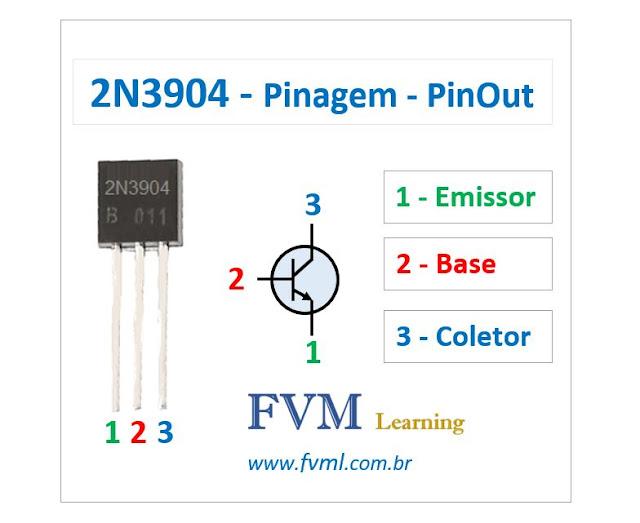 Pinagem - Pinout - Transistor - NPN - 2N3904 - Características