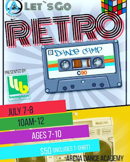 a casette tape and neon colors accent details about the Arena's retro dance camp July 7th 2021