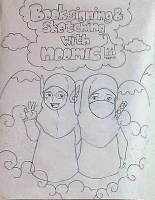 Sketsa yang dibuat Mas Didit ketika saya dan Teh Tethy sedang ngobrol tentang bacaan anak.