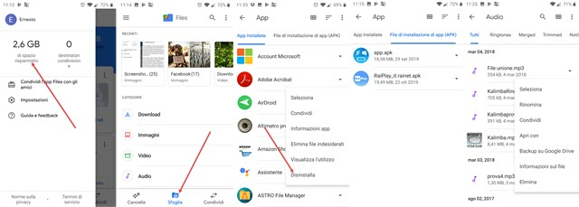 files di google per eliminare file superflui