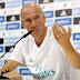 """Zidane: """"Estou feliz com meu elenco e não quero mudanças"""""""