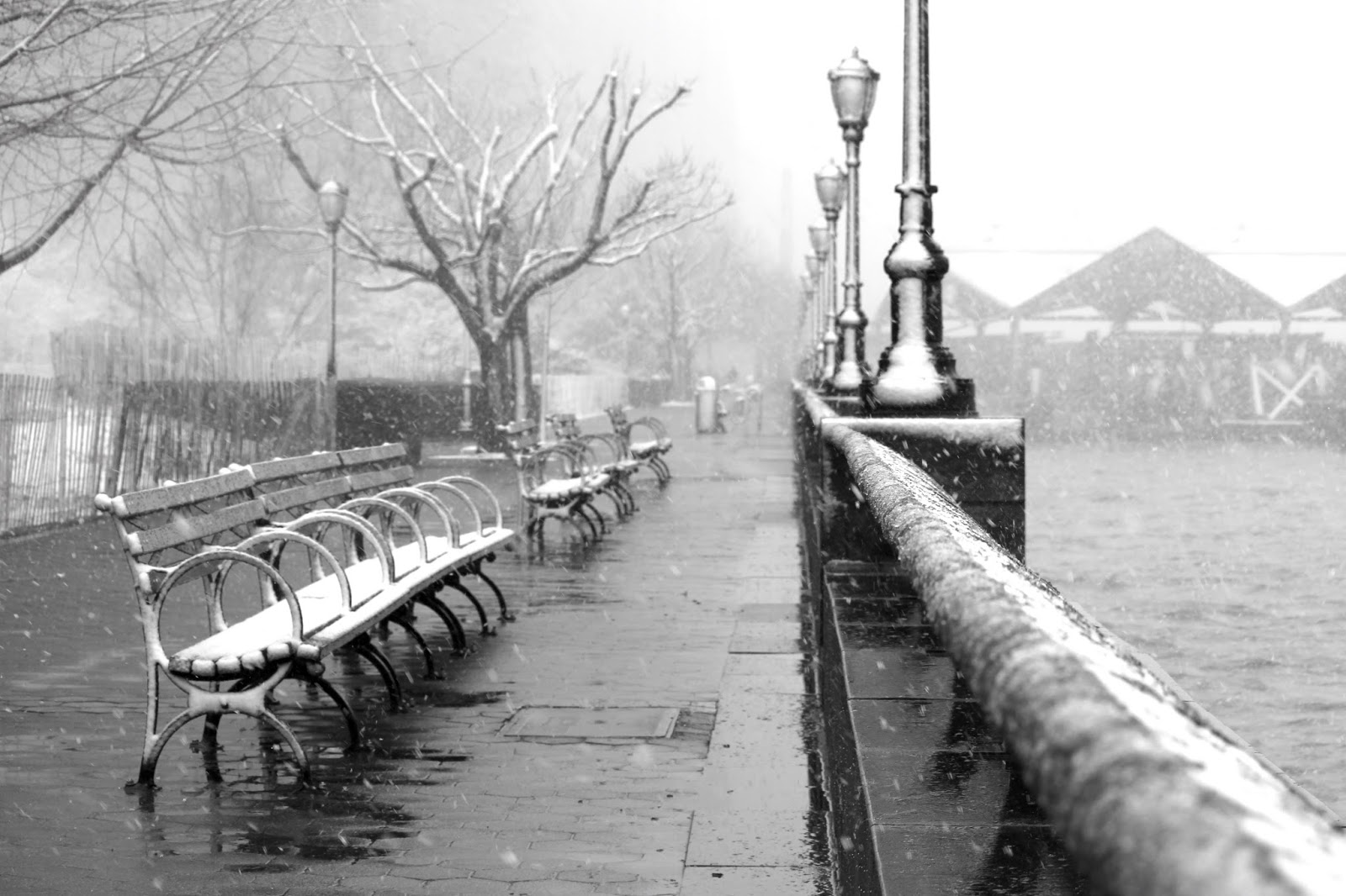Battery Park in the snow
