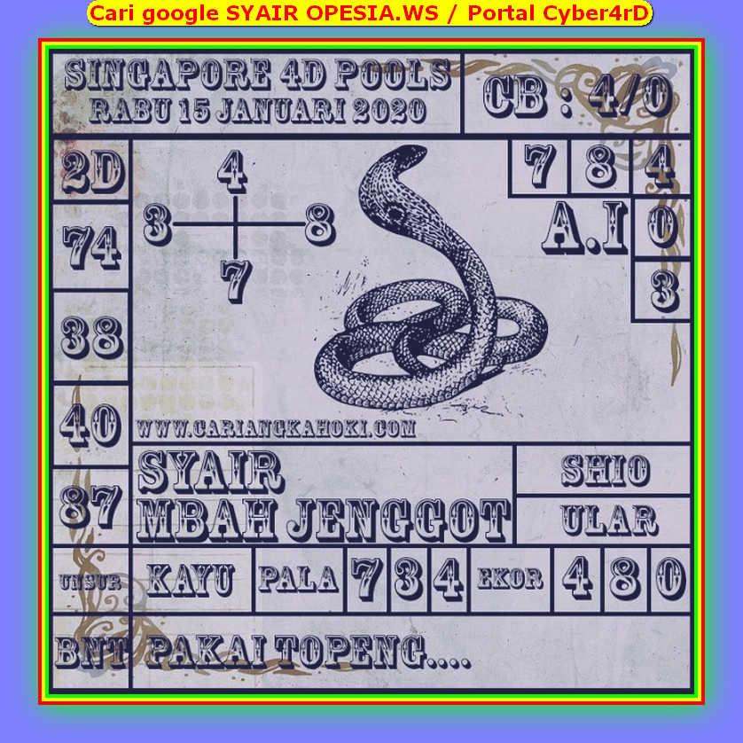 Kode syair Singapore Rabu 15 Januari 2020 118