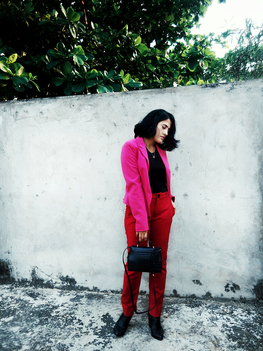Zarablacktop,Mango women's Red trousers,Only pink blazer,Zarablackcitybag,Mango Boots