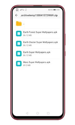 Ekstrak file super wallpaper zip