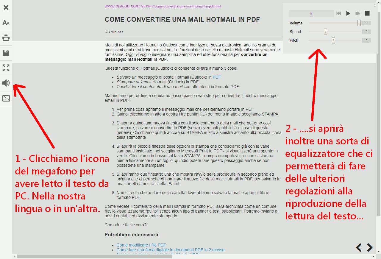 Autolettura del PC di una pagina stampata o salvata in PDF