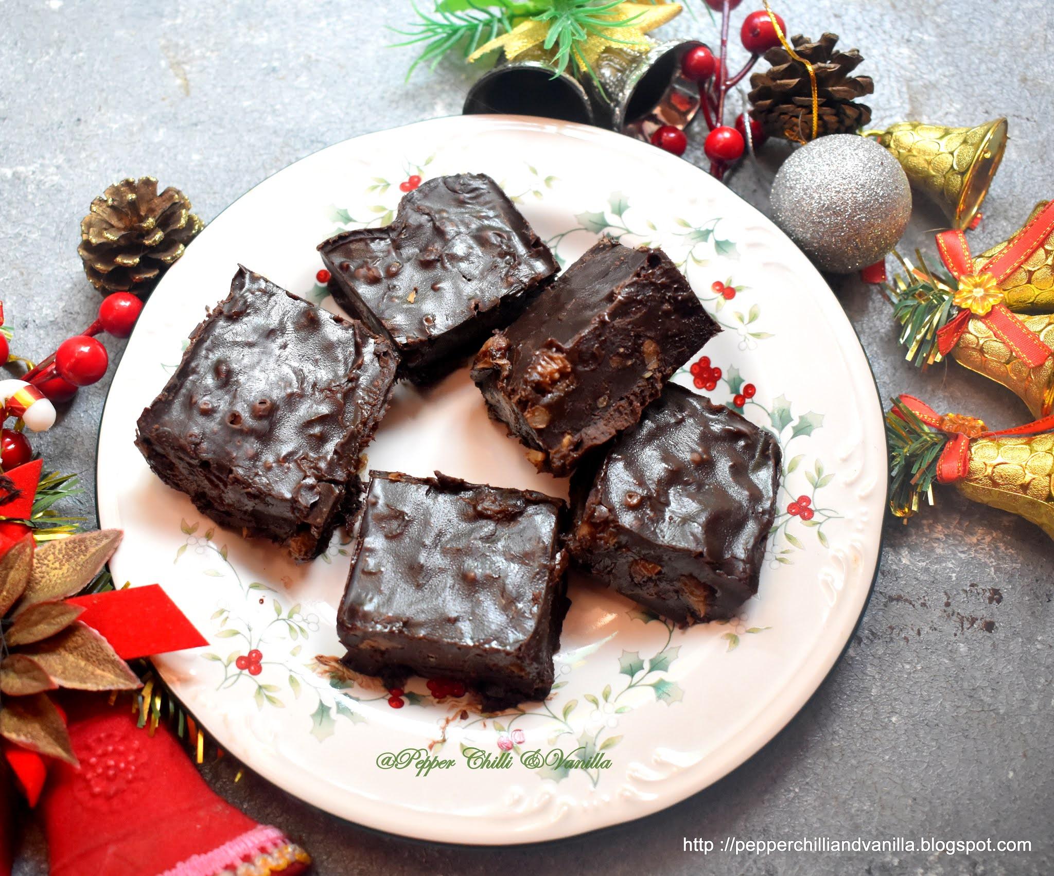 how to make chocolate walnut raisins fudge, best chocolate fudge recipe,walnut raisins and rum chocolate fudge  udge recipe, easy choc
