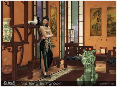Meifeng гостиная для The Sims 4 Набор мебели и декора для украшения гостиной в азиатском стиле. В набор входят 9 предметов: - гостиный стул - диван 2-местный - диван 3-местный - пуф - резная полка - высокий стол - журнальный столик - большой журнальный столик - настенное панно Автор: Severinka_