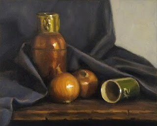 Still life oil painting of two onions, a copper vase and a green ceramic cup amongst dark blue drapery.