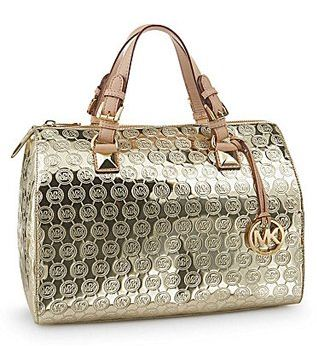 301b55781dd0 MICHAEL Michael Kors Mirror Monogram Grayson Large Satchel. Colour- Pale  Gold Metallic