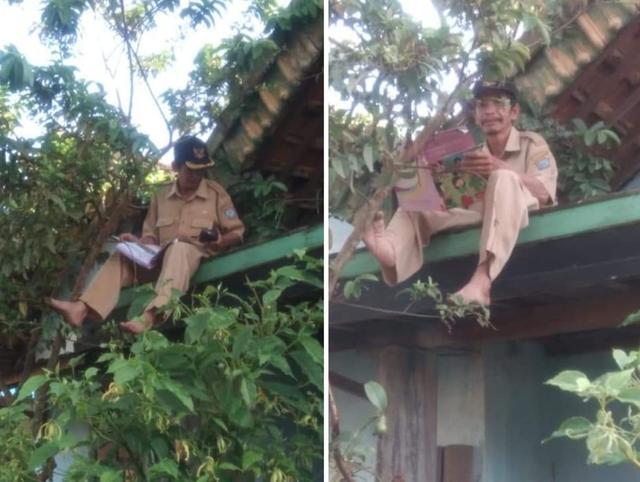 Seorang Guru di Sumatera Selatan Terpaksa Mengajar di Atap Rumah, Begini Curhatannya