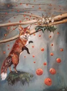 Galleriayoellploger, Ayoe, Lise, Lysgaard, Pløger, rønnebærrene, er sure sagde, ræven, ræv, fox, landskab, landscape, dear, rådyr, Wood paint, galeri, colourfull
