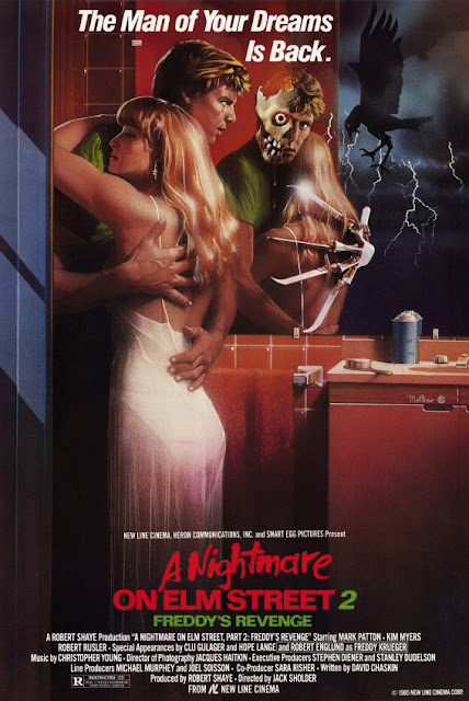 "New Line Cinema movie poster for ""A Nightmare on Elm Street 2: Freddy's Revenge,"" starring Robert Englund, Mark Patton, Kim Myers, and Robert Rusler"