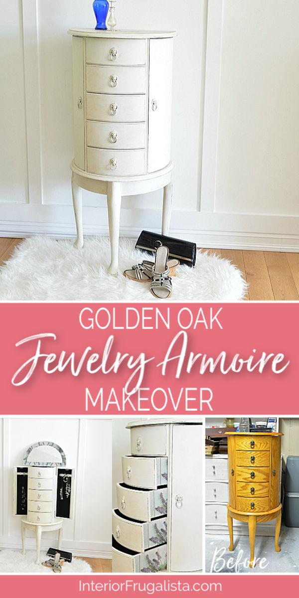 Golden Oak Floor Standing Jewelry Armoire Makeover