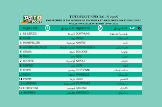 PRONOSTIC TOTOFOOT 14 Spécial N° 290S