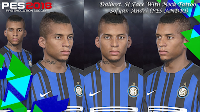 PES 2018 Face & Tattoo Dalbert Henrique By Sofyan Andri
