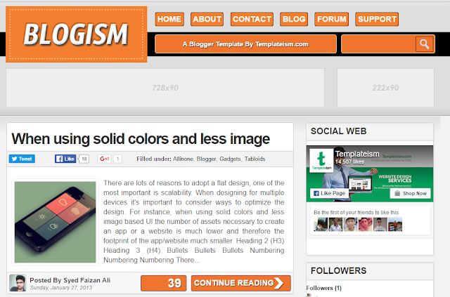 Blogism Blogger Template - Templateism