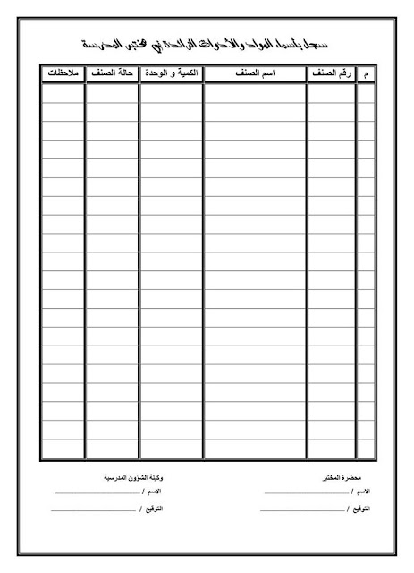 سجل بأسماء الموادة والأدوات الزائدة في مختبر المدرسة