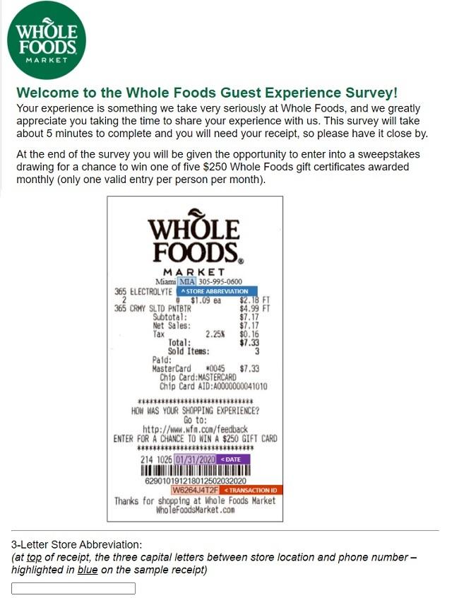 whole foods survey shopper