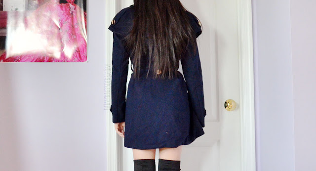 Navy blue double breasted capelet trench coat from Romwe