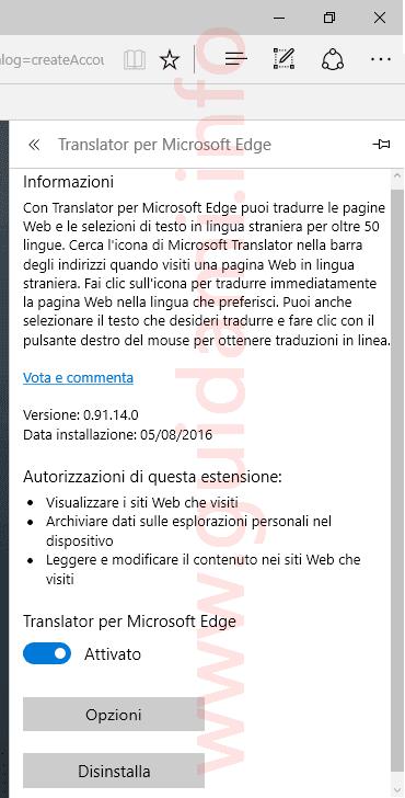 Schermata per gestire disinstallare estensione Microsoft Edge