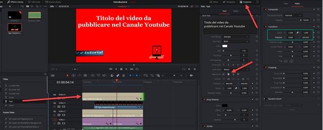 aggiunta del titolo del video alla introduzione