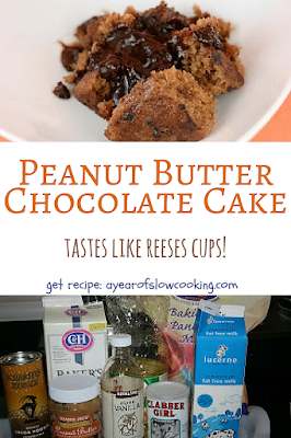 Melted Chocolate inside of a moist and delicious peanut butter cake. This is just like you'd imagine a Reeses Peanut Butter cake to taste!